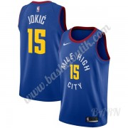 Barn NBA Tröja Denver Nuggets 2019-20 Nikola Jokic 15# Blå Statement Edition Swingman..