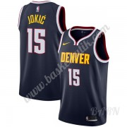 Barn NBA Tröja Denver Nuggets 2019-20 Nikola Jokic 15# Marinblå Icon Edition Swingman