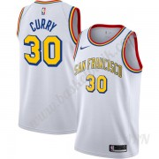 Barn NBA Tröja Golden State Warriors Stephen Curry 30# Vit Finished Hardwood Classics Swingman