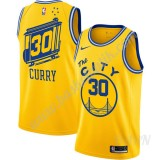 Barn NBA Tröja Golden State Warriors 2019-20 Stephen Curry 30# Gul Finished Hardwood Classics Swingman
