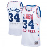 Houston Rockets Hakeem Olajuwon 34# Vit 1989 All Star Hardwood Classics NBA Basketlinne..