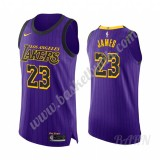 Barn NBA Tröja Los Angeles Lakers 2019-20 LeBron James 23# Lila City Edition Swingman