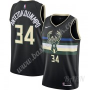 Barn NBA Tröja Milwaukee Bucks 2019-20 Giannis Antetokounmpo 34# Svart Finished Statement Edition Swingman