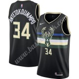 Milwaukee Bucks Basket Tröja 2019-20 Giannis Antetokounmpo 34# Svart Finished Statement Edition Swingman