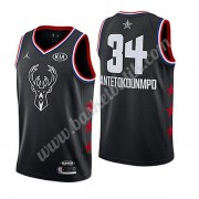 Milwaukee Bucks 2019 Giannis Antetokounmpo 34# Svart All Star Game NBA Basketlinne Swingman..