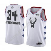 Milwaukee Bucks 2019 Giannis Antetokounmpo 34# Vit All Star Game NBA Basketlinne Swingman..