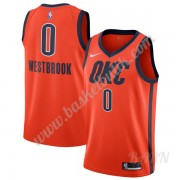 Barn NBA Tröja Oklahoma City Thunder 2019-20 Russell Westbrook 0# Orange Earned Edition Swingman..