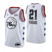 Philadelphia 76ers 2019 Joel Embiid 21# Vit All Star Game NBA Basketlinne Swingman..