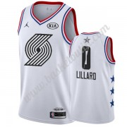 Portland Trail Blazers 2019 Damian Lillard 0# Vit All Star Game NBA Basketlinne Swingman..